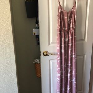 Floor length pink dress